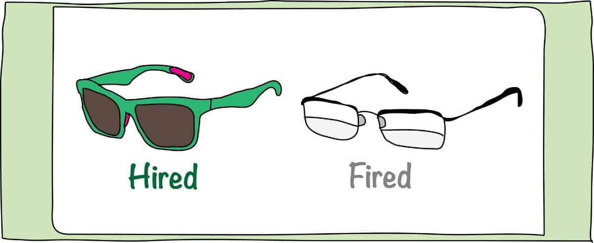 Hired-Fired Glasses
